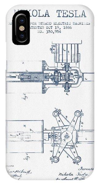 Nikola Tesla Regulator Patent Drawing From 1886- Blue Ink IPhone Case