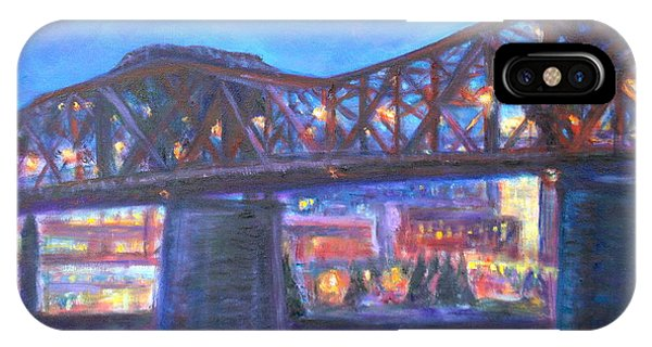 City At Night Downtown Evening Scene Original Contemporary Painting For Sale IPhone Case