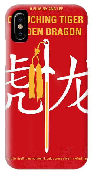 Dragon iPhone X Case - No334 My Crouching Tiger Hidden Dragon Minimal Movie Poster by Chungkong Art