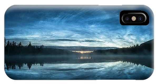 Treeline iPhone Case - Noctilucent Clouds Reflected In Water by Tommy Eliassen/science Photo Library