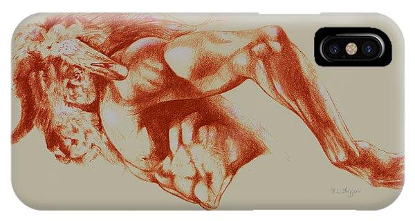 Minotaur iPhone Case - North American Minotaur Red Sketch by Derrick Higgins