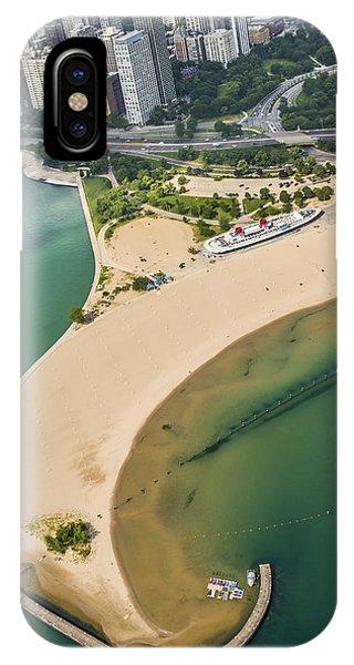 Chicago Skyline Art iPhone Case - North Avenue Beach And Castaways Restaurant by Adam Romanowicz