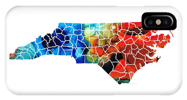 Bobcats iPhone Case - North Carolina - Colorful Wall Map By Sharon Cummings by Sharon Cummings