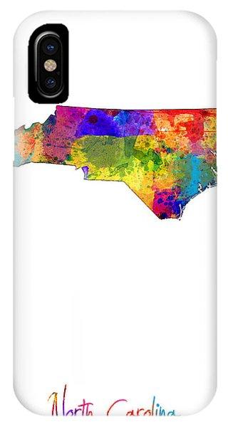 North Carolina iPhone Case - North Carolina Map by Michael Tompsett