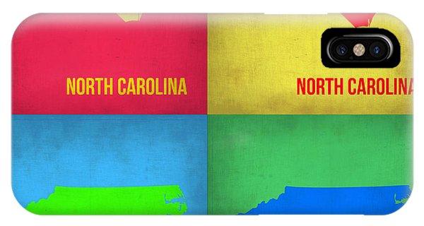 North Carolina iPhone Case - North Carolina Pop Art Map 1 by Naxart Studio