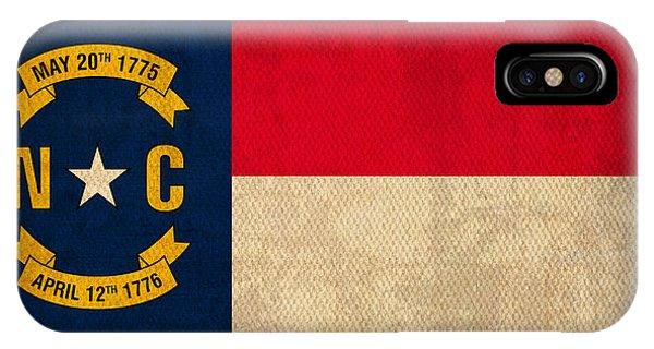 North Carolina State Flag Art On Worn Canvas IPhone Case