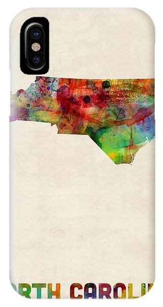 North Carolina iPhone Case - North Carolina Watercolor Map by Michael Tompsett