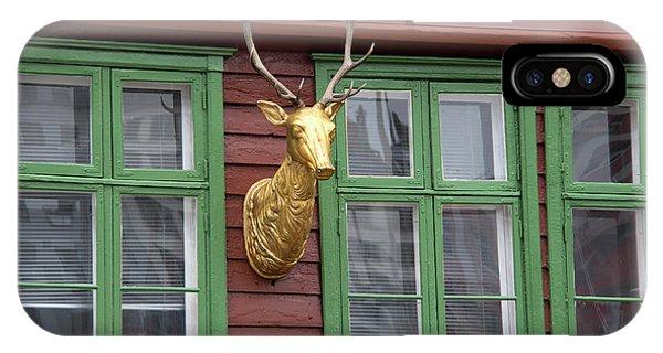 Window Shopping iPhone Case - Norway, Bergen Bryggen Facade Deer by Kymri Wilt