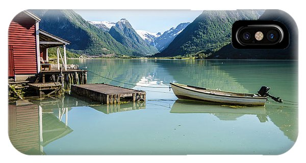 Reflection Of A Boat And A Boathouse In A Fjord In Norway IPhone Case
