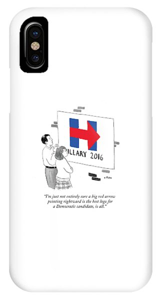 Hillary Clinton iPhone Case - Not Entirely Sure A Big Red Arrow Pointing by Emily Flake