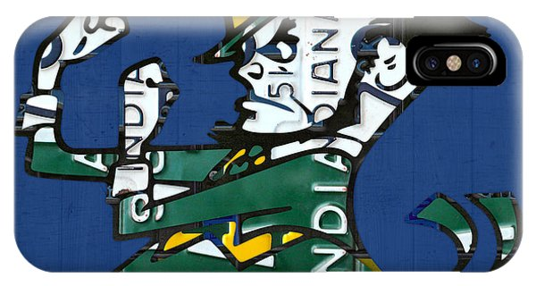 Notre Dame Fighting Irish Leprechaun Vintage Indiana License Plate Art  IPhone Case