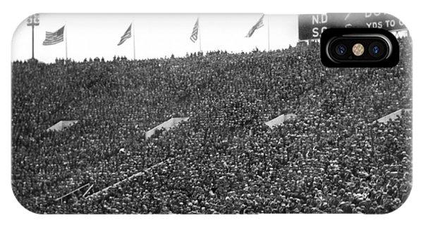 Soldier Field iPhone Case - Notre Dame-usc Scoreboard by Underwood Archives
