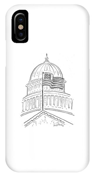Capitol Building iPhone Case - Noughts And Crosses On An American Flag by Mike Twohy