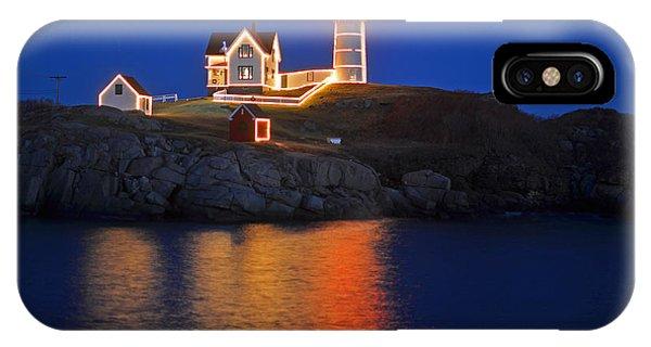 Nubble Light In York Me Cape Neddick Christmas Blue Sky IPhone Case