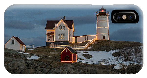 Nubble Lighthouse At Christmas IPhone Case