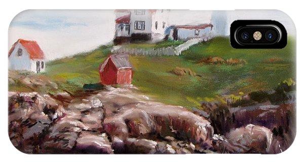 Cape Neddick Lighthouse iPhone Case - Nubble Lighthouse In Pastel by Jack Skinner