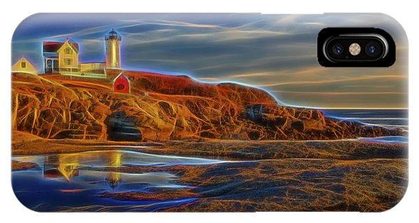 Cape Neddick Lighthouse iPhone Case - Nubble Lighthouse Neon Glow by Susan Candelario