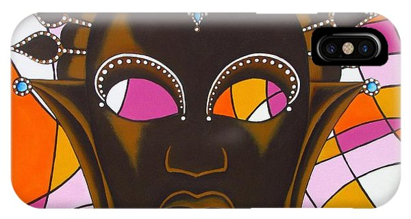 Nubian Modern Mask With Pink IPhone Case