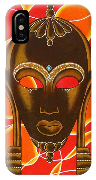 Nubian Modern Mask With Red And Orange IPhone Case