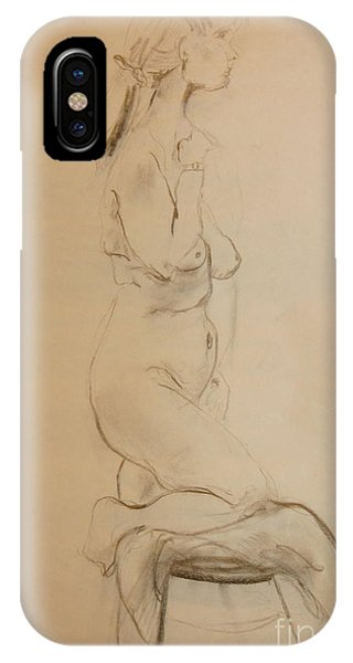 Nude Kneels On Stool IPhone Case