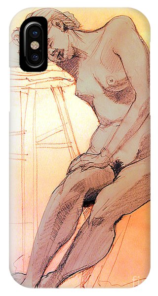 Nude Woman Leaning On A Barstool IPhone Case