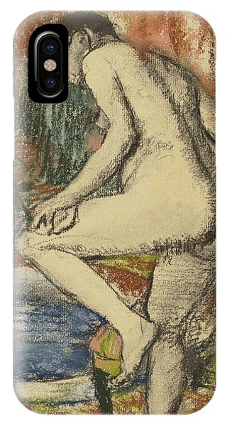 Impressionistic iPhone Case - Nude Woman Wiping Herself After The Bath by Edgar Degas