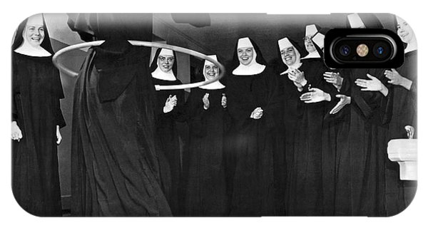 1958 iPhone Case - Nun Swivels Hula Hoop On Hips by Underwood Archives