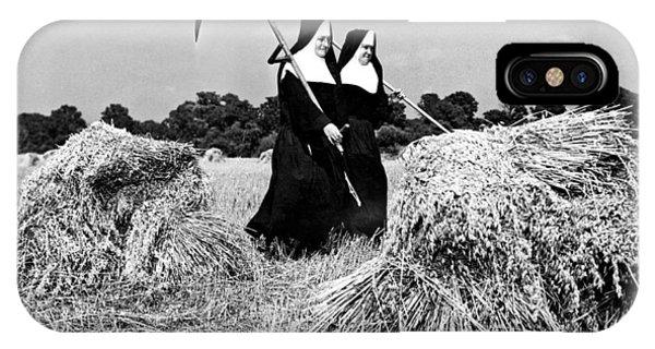 Farm Tool iPhone Case - Nuns Harvest Oats In Fields by Underwood Archives