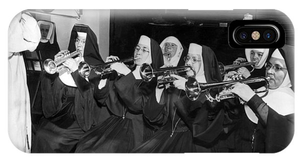 Trombone iPhone X Case - Nuns Rehearse For Concert by Underwood Archives