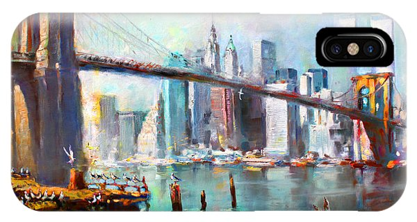River iPhone Case - Ny City Brooklyn Bridge II by Ylli Haruni