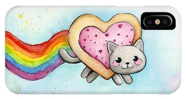Hearts iPhone Case - Nyan Cat Valentine Heart by Olga Shvartsur