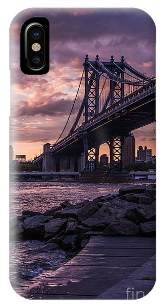 Nyc- Manhatten Bridge At Night IPhone Case