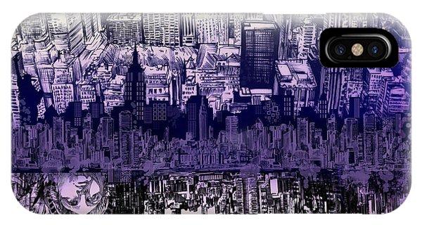 Manhattan Skyline iPhone Case - Nyc Tribute Skyline 2 by Bekim M