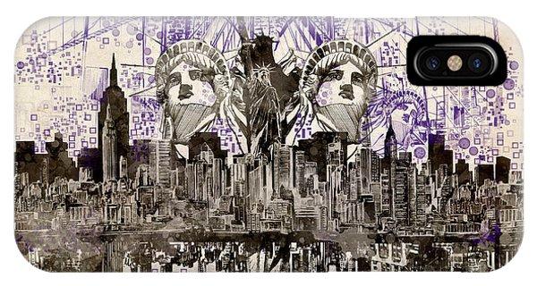 Manhattan Skyline iPhone Case - Nyc Tribute Skyline 5 by Bekim M