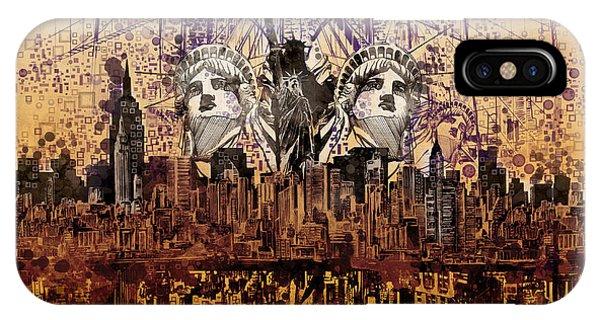 Manhattan Skyline iPhone Case - Nyc Tribute Skyline 6 by Bekim M