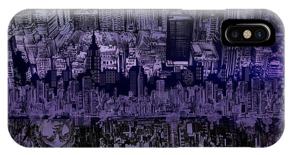 Manhattan Skyline iPhone Case - Nyc Tribute Skyline by Bekim M