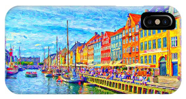 Nyhavn In Denmark Painting IPhone Case