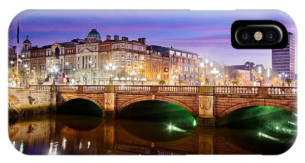 IPhone Case featuring the photograph O Connell Bridge At Night - Dublin by Barry O Carroll