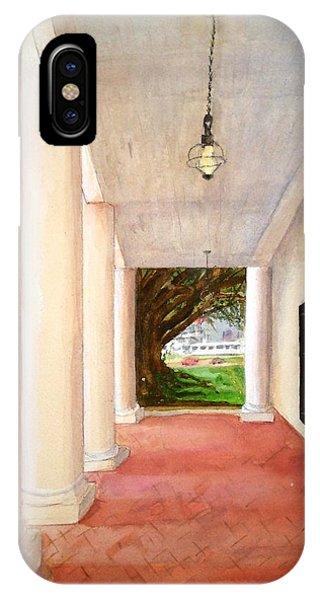 Oak Alley - Veranda View Of The Delta Queen IPhone Case