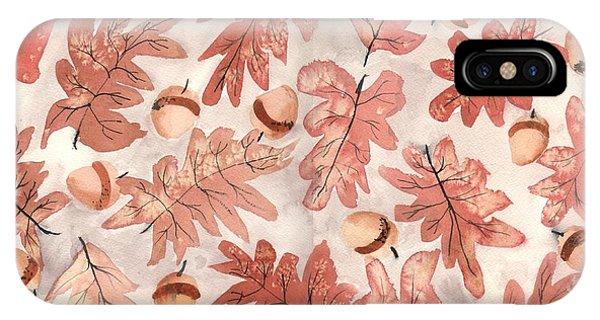 Autumn iPhone X Case - Oak Leaves And Acorns by Neela Pushparaj