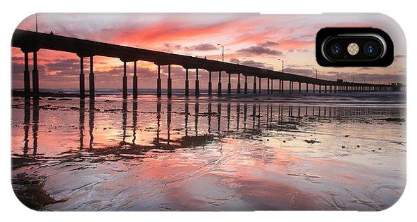 Ob Pier Reflection Sunset IPhone Case