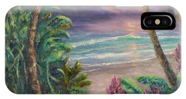 Ocean Sunrise Painting With Tropical Palm Trees  IPhone Case