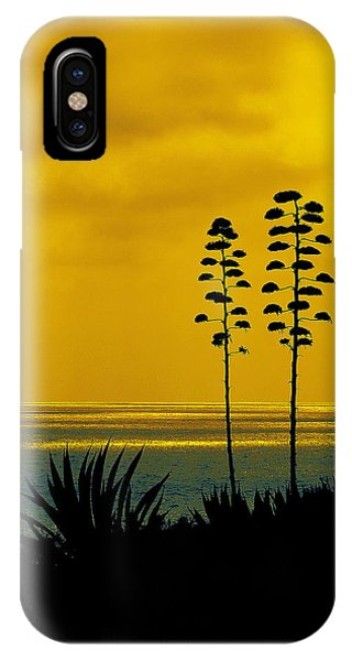Ocean Sunset With Agave Silhouette IPhone Case