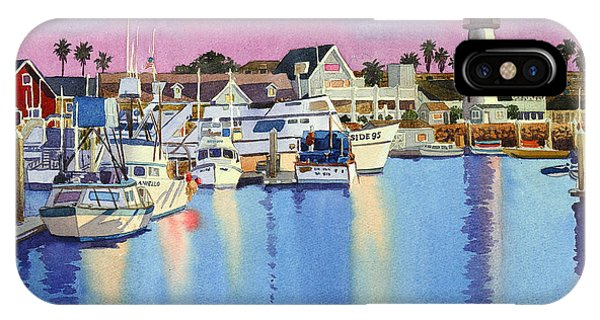 Docked Boats iPhone Case - Oceanside Harbor At Dusk by Mary Helmreich