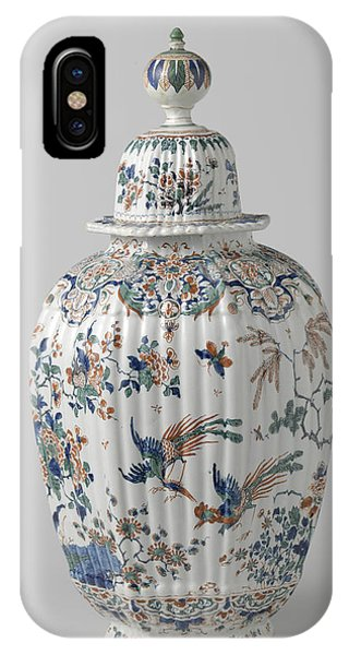 Lid iPhone Case - Octagonal Ribbed Vase With Lid Multicolored Painted Faience by Quint Lox