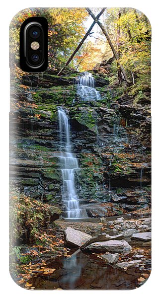 October Foliage Surrounds Ganoga Falls IPhone Case
