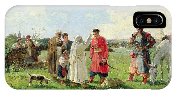 Departure iPhone Case - Off To The Zaporozhian Host, 1889 Oil On Canvas by Opanas Georgievich Slastion