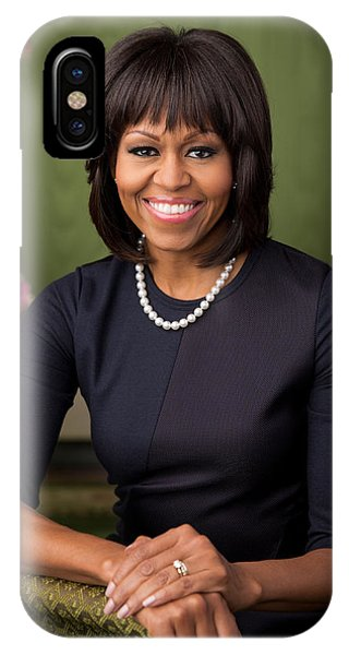 IPhone Case featuring the photograph Official Portrait Of First Lady Michelle Obama by Celestial Images