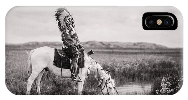 White Horse iPhone Case - Oglala Indian Man Circa 1905 by Aged Pixel