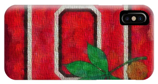 Basketball iPhone Case - Ohio State Buckeyes On Canvas by Dan Sproul